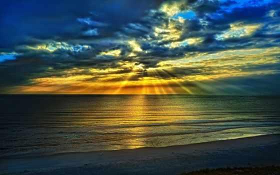 rising, небо, солнца, природа, закат, landscape, пляж, oblaka, море,