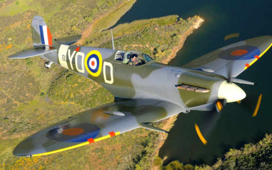 spitfire, supermarine, самолёт, полет,