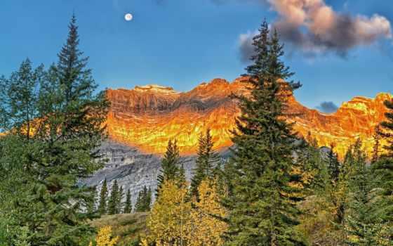 luna, montagne, oro, montagna, sfondi, природа, pantalla, sopra, ecran,