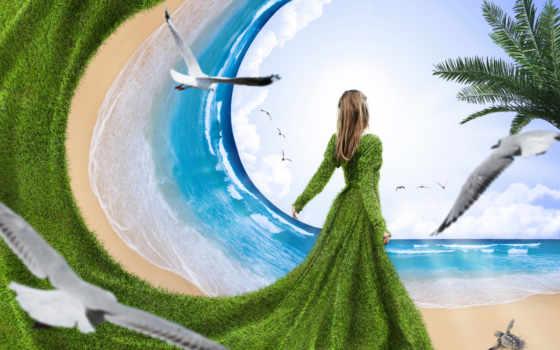 море, чайки, девушка, дек, моря,