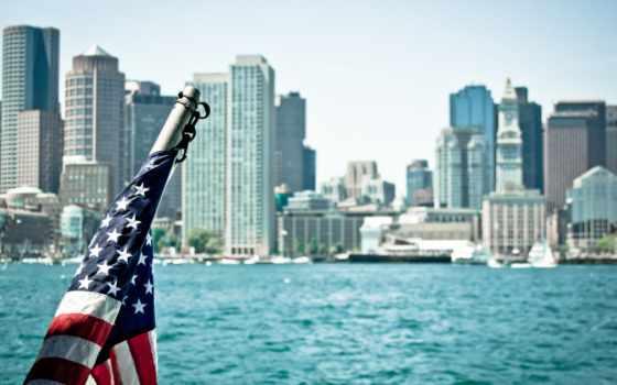 город, usa, boston, массачусетс, флаг,