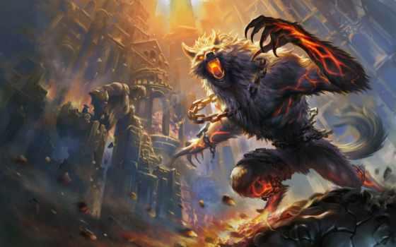werewolf, art, smite, огонь, castle,