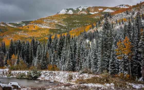 снег, trees, mountains, осень, water, utah, пасть, winter, горы, природа,