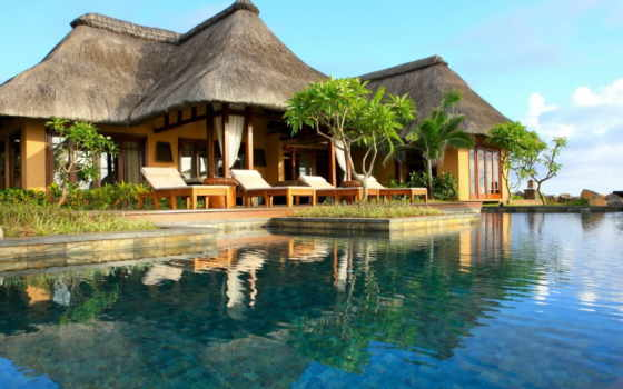 houses, индонезия, trees, palm, дом, бассейн,