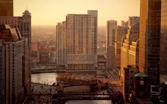 чикаго, река, утро, дома, usa, город, картинка, картинку,