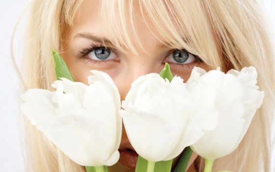 девушка, тюльпанами, девушки, ячменя,