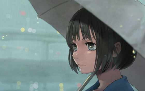 anime, девушка, взгляд