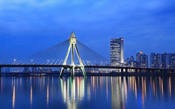 город, ночь, река