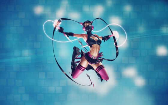 девушка, anime, маска, розовое, прыжок, косички, юбка, меч, мечи, оружие,