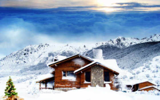 коттедж, christmas, snowy, mountains, winter, desktop, гора, снег,