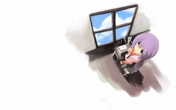 anime, девушка, катаной, girls, офис, smiling, руке,