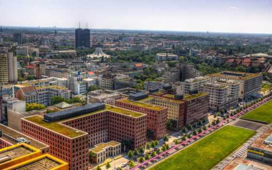 german, berlin, мегаполис, сверху, германия, горизонт, дома, пользователя,