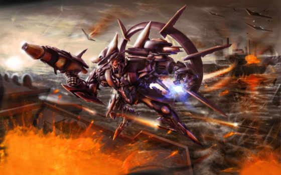 robots, ciencia, ficción, armas, меча, guerra, los, pantalla, transformador, explosiones, batallas,