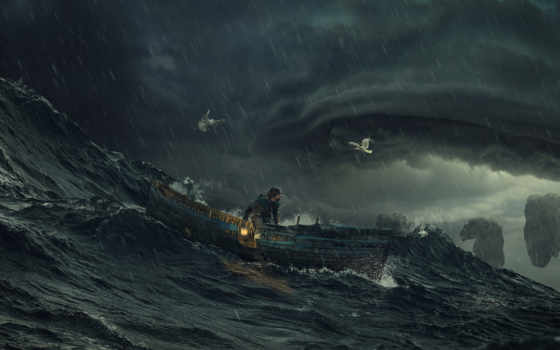 буря, море, мужчины, desktop, фантастика, элемент, лодки,
