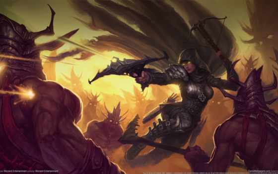 diablo, hunter, демон, демонов, iii, видеоигры, искусства, работать,