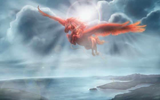 пегас, крыльями, солнца, единорог, лошадь, летит,