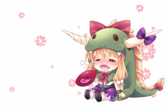 hair, ibuki, suika, touhou, chibi, blush, horns, long, blonde, fang,