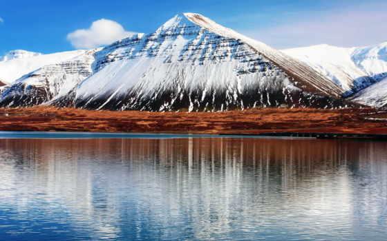 горы, water, отражения, небо, iceland, hafnarfjall, гора, oblaka, природа,