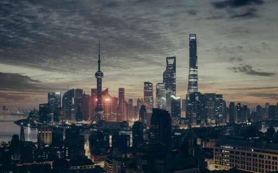 shanghai, ultra, china, ночь, небоскребы, закат, китаянка, панорама,