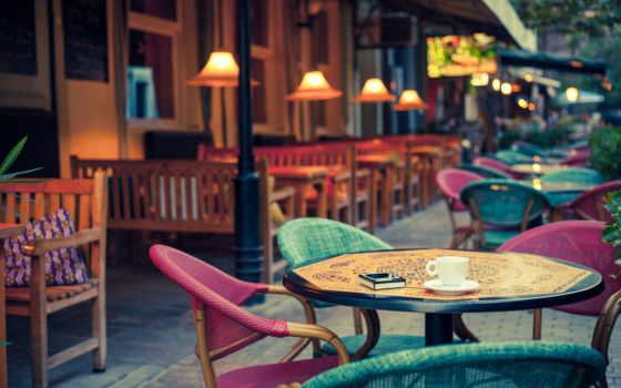 кафе, фотообои, столики, уличного, stage, город, улица, стену, интерьере, уличное,