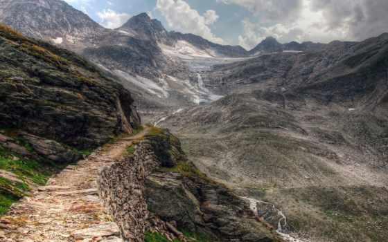 дорога, горы, скалы, oblaka, неизвестность, browse, trail, камни, путь, горах,