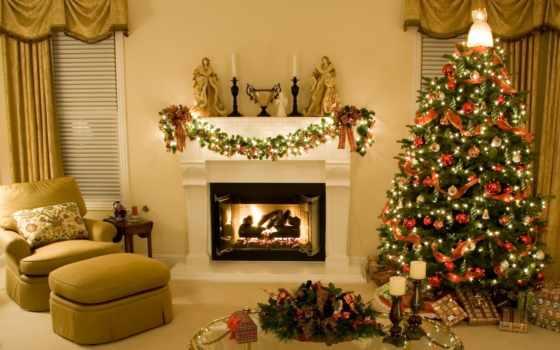 новогодние, новогодняя, елка, new, год, интерьер, комната, обстановка, декор,