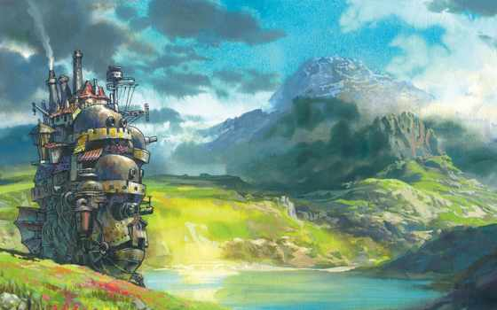 castle, выгул, anime, art, хаула, природа, лапута,