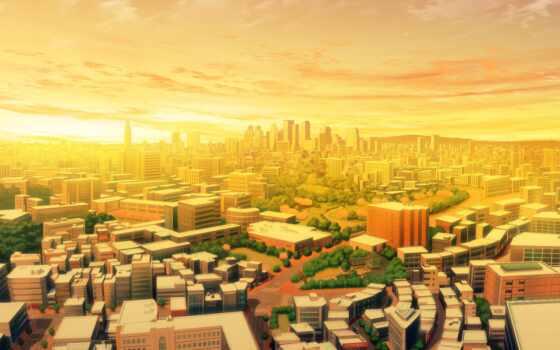 улицы, мегаполис, здания, рисунок, rising, город, landscape,