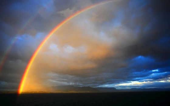 яркий, природа, landscape, радуга