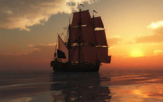 корабли, корабль, море