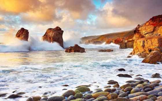 скалы, море, камни, waves, landscape, горы, буря, побережье,