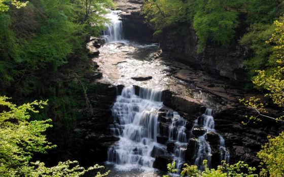 река, горная, водопад, красивые,