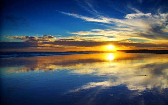закат, ocean, атлантический, гладь, пляж, free, море, вечер, water,