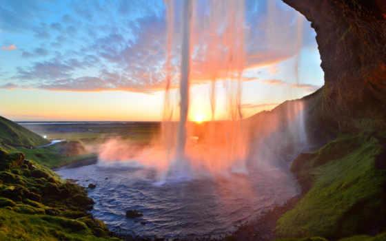 водопад, миро, природа, красивый, закат, небо, озеро