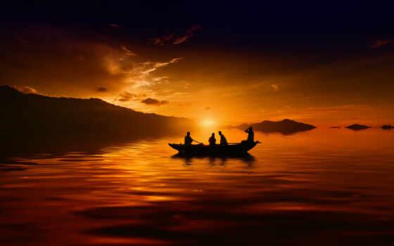 закат, лодка, озеро, гора, силуэт