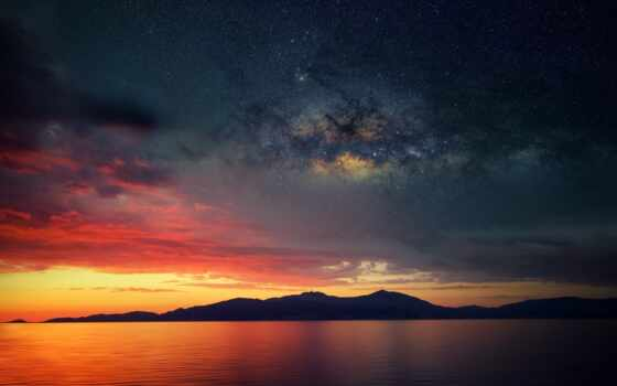 природа, закат, rising, горизонт, заставка, космос, sun, afterglow, star, море, облако