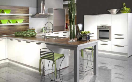 кухни, кухня, интерьере, фотообои, стильные, островом,