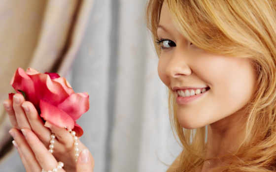 девушка, цветок, улыбка