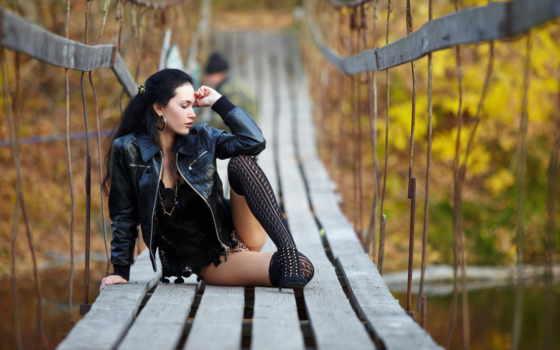 girls, мосту, девушка, часть, очаровательные,