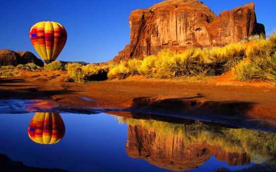 монгольфьер, aerial, мяч, balloon, аризоны, rock, шары, большой, природа,