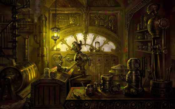 steampunk, robot, запчасти