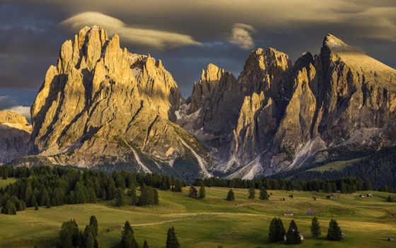 горы, природа, landscape, сьюзи, alpe, dee, italian, закат, небо, langkofelgruppe,