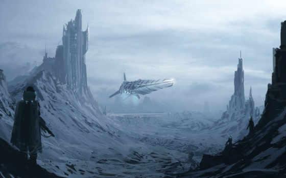 art, снег, фантастика, горы, мужчина, башни, корабль,