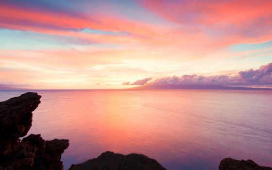 ocean, hawaii, скалы, рассвет, море, побережье, пляж, water,