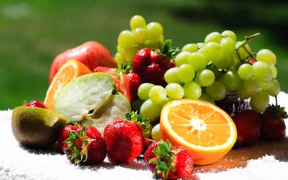 фрукты, сочные, снегу, еда, ягоды,