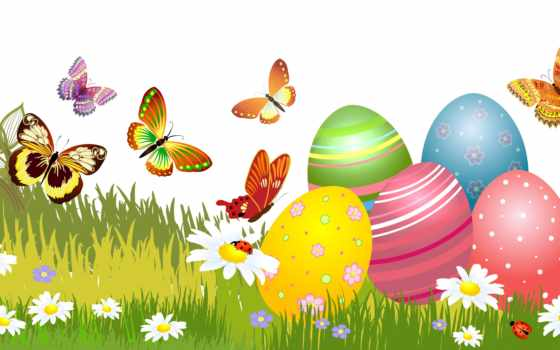 бабочка, вектор, chart, easter, праздник, ромашка, трава, яйцо