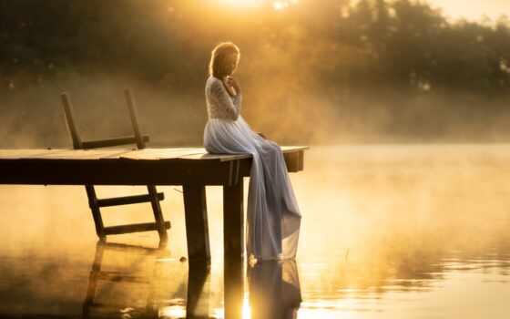 мост, девушка, озеро, природа, туман, water, дерево, color, random, popularity