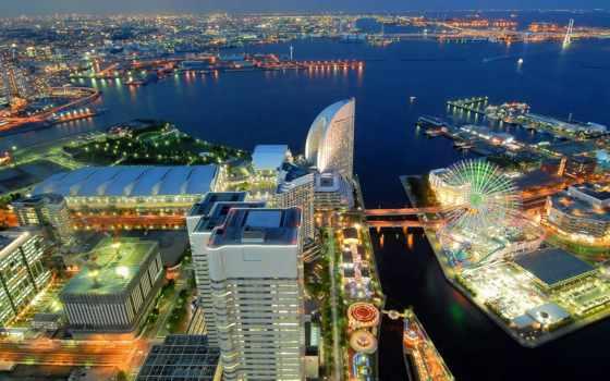 japanese, город, yokohama, ночь, порт, красивые, башня, landmark, июл, небо, себе,