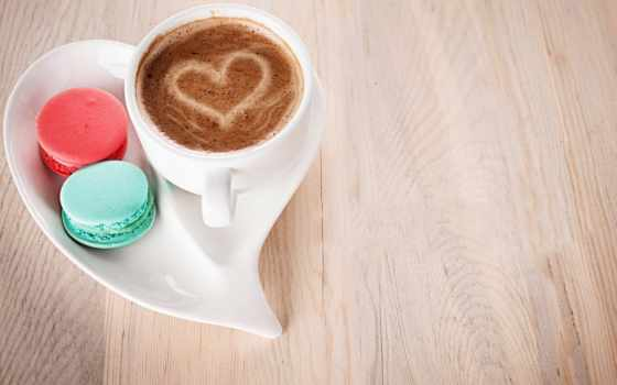coffee, cup, десерт, какао, candy, love, milk, cookie, сердце, macaron,