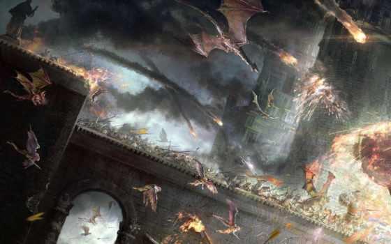 битва, fantasy, war, эпическая, castle, art, всадники, драконы,
